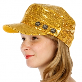 Wholesale T26C Three Metal Buttons Sequins Hat GD