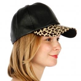 Wholesale T26D Leopard Visor Leather Hat BKLEO