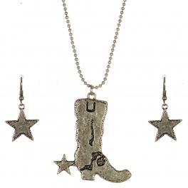 Wholesale M09C Cowboy Boot and Star Necklace Set SB