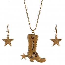 Wholesale M09C Cowboy Boot and Star Necklace Set RGB