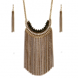 Wholesale M09B Fringe Statement Necklace GB