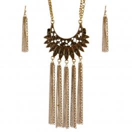 Wholesale M09D Faux Gem Long Tassel Necklace Set GB