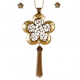 Wholesale M11A Flower Shape Pendant Necklace Set GB