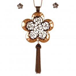 Wholesale M11A Flower Shape Pendant Necklace Set CB
