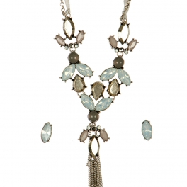 Wholesale N44D Faux Crystal Long Tassel Necklace BSWT