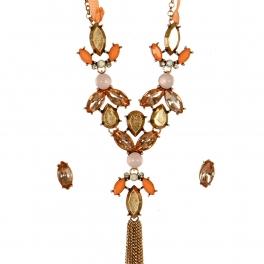 Wholesale N44D Faux Crystal Long Tassel Necklace RSPE