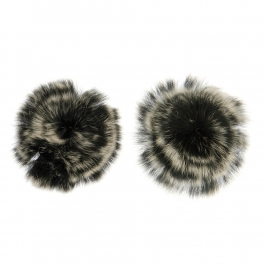 Wholesale M15A Rabbit Fur Shoe Clips BK/MT