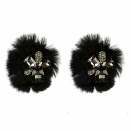 Wholesale M15A Fancy Crystal Rabbit Fur Shoe Clips BK