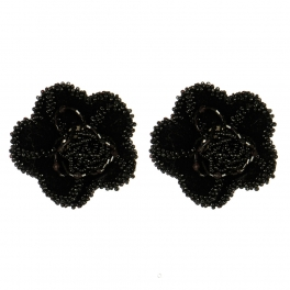 Wholesale M15A Wool Beaded Flower Shoe Clips BK