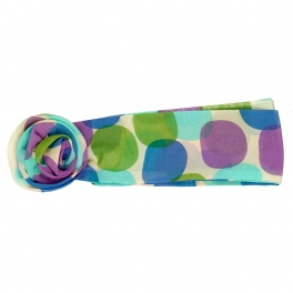 Wholesale L32E Polka Dot Flower Ring Chiffon Belt BL/PU