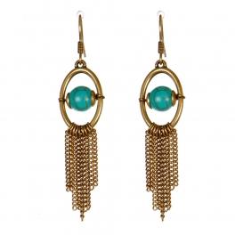 Wholesale M13D Faux Stone Tassel Earrings GB