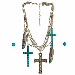 Wholesale M17B Cross and Feather Charm Layered Necklace Set BSTQ