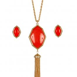 Wholesale M17B Tassel Stone Pendant Necklace Set GRD