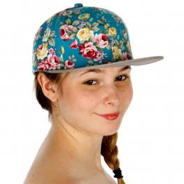 Wholesale V33 Small Colorful Roses Snapback Hat TURQUOISE/LT.GRAY