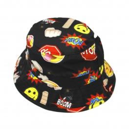 Wholesale V34 Emoji Sublimated Bucket Hat BLACK