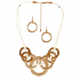 Wholesale M17C Rings On Rings Faux Leather Necklace Set VGIV