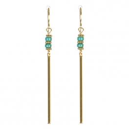 Wholesale M08C Bar Drop w/ Beads Earring GD