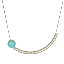 Wholesale M05A Curved Bar Faux Stone Necklace SV