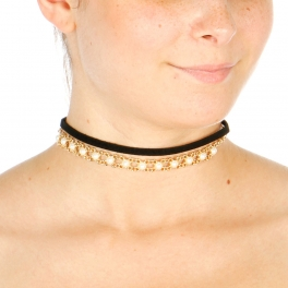 Wholesale N38A Pearls Choker Necklace BLACK CLEAR