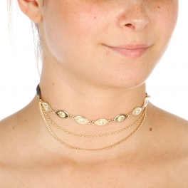Wholesale N42A Sun Etched Choker Necklace GOLD/GREY