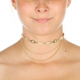 Wholesale N42A Sun Etched Choker Necklace GOLD/RED
