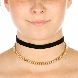 Wholesale N42A Chain Choker Necklace GOLD/BLACK