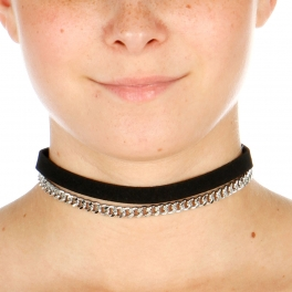 Wholesale N42A Chain Choker Necklace RHODIUM/BLACK