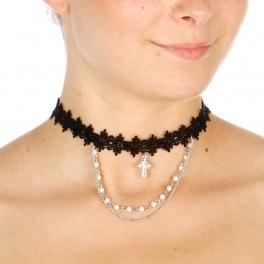 Wholesale N44B Cross Lace Choker Necklace RHODIUM/BLACK