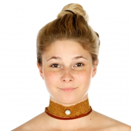 Wholesale N44B Big Pearl Lace Choker Necklace ROSE GOLD/BROWN