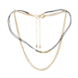 Wholesale N44A Chain Layered Choker Necklace GOLD/BLACK