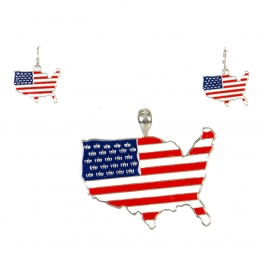 Wholesale M01C US Map Necklace Pendant and Earring Set SMR