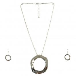 Wholesale M07D Hammered Circle Pendant Necklace Set S
