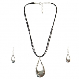 Wholesale M04A Shiny Tear Drop Necklace Set S/BK