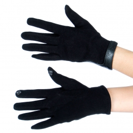 Wholesale T18A Solid Leather Wrist Trim Touch Screen Gloves BK