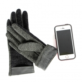 Wholesale T18C Leather Trim Touch Screen Gloves BK
