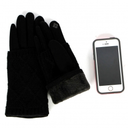 Wholesale T18D Womens Multi Knit Design Gloves BK