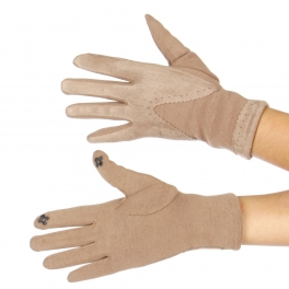 Wholesale P17A Half Faux Suede Victorian Gloves BE