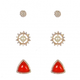 Wholesale L01A Mixed Rhinestone Stud Set GOLD/RED