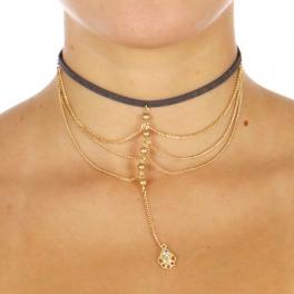 Wholesale L07C Chain Layered Choker Necklace GGA