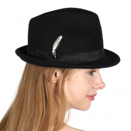 1050ff6f010f7 V24 Wool Feel Fedora w  Gold Feather Pin BK CODE  SS0634-1-1