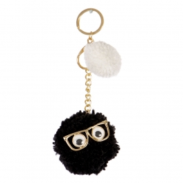 Wholesale I34A Mr. Fluff Ball w/ Eyes and Glasses Keychain GJW