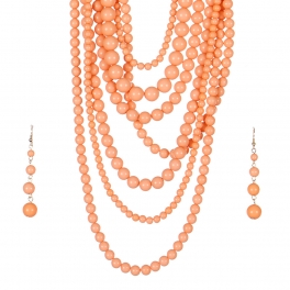 Wholesale L27D Chunky Pearls Layered Necklace Set PCH
