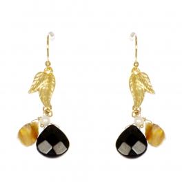 Wholesale WA00 Leaf and stone drop earrings GBK