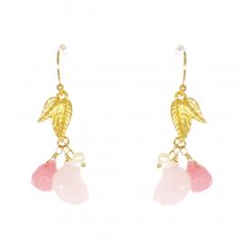 Wholesale WA00 Leaf and stone drop earrings GPK