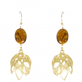 Wholesale WA00 Stone and large leaf earrings GBR