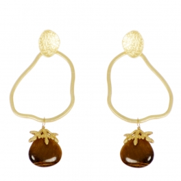 Wholesale WA00 Distorted hoop and stone earrings GBR
