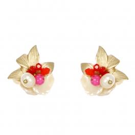 Wholesale WA00 Flower and faux pearl studs GFU