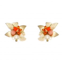 Wholesale WA00 Flower and faux pearl studs GOR