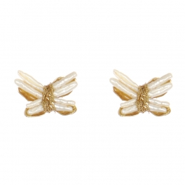 Wholesale WA00 Pearl Butterfly Studs G