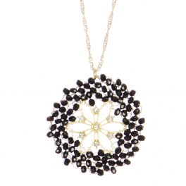 Wholesale WA00 Beads Wreath Necklace W/ Rhinestone Gbk